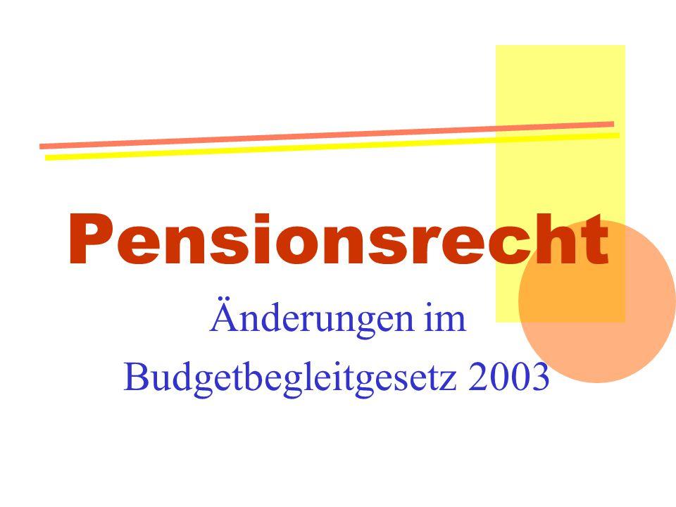 Änderungen im Budgetbegleitgesetz 2003