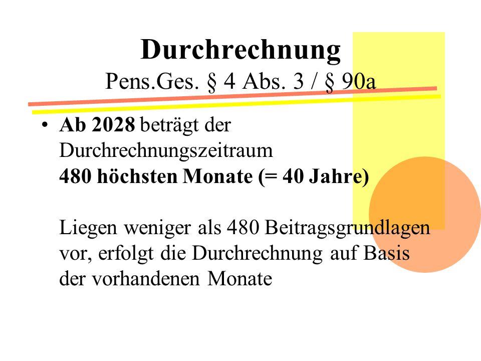 Durchrechnung Pens.Ges. § 4 Abs. 3 / § 90a