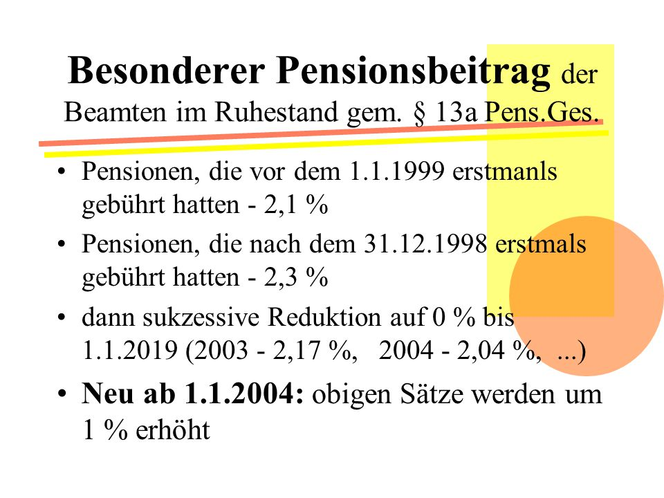 Besonderer Pensionsbeitrag der Beamten im Ruhestand gem. § 13a Pens