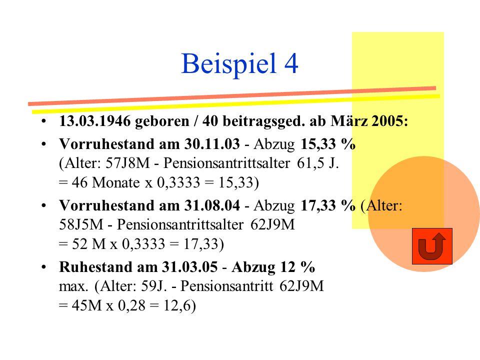 Beispiel 4 13.03.1946 geboren / 40 beitragsged. ab März 2005: