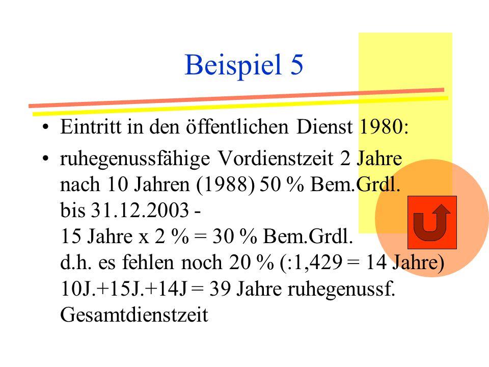 Beispiel 5 Eintritt in den öffentlichen Dienst 1980: