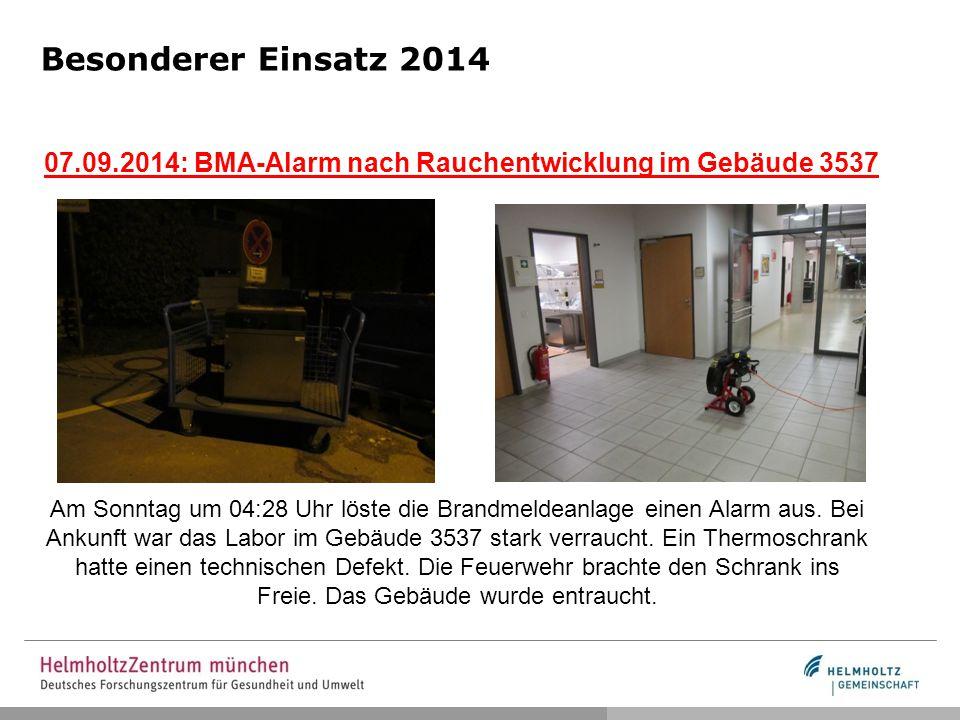 Besonderer Einsatz 2014 07.09.2014: BMA-Alarm nach Rauchentwicklung im Gebäude 3537.