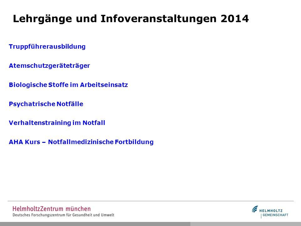 Lehrgänge und Infoveranstaltungen 2014