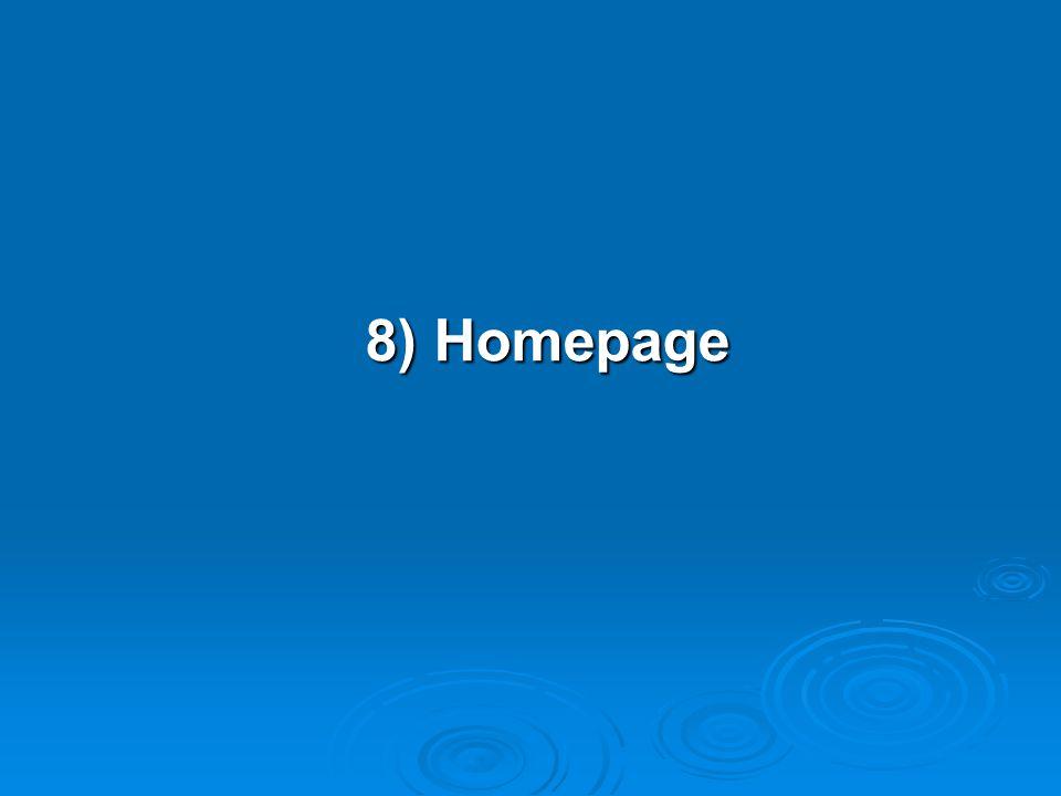 8) Homepage
