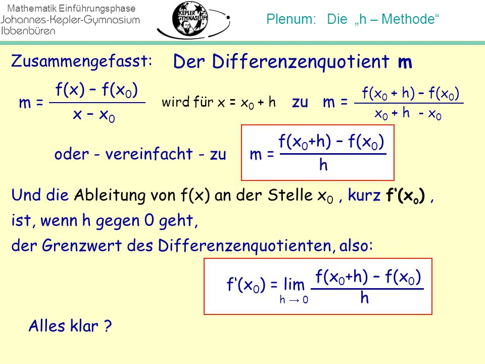 Der Differenzenquotient m