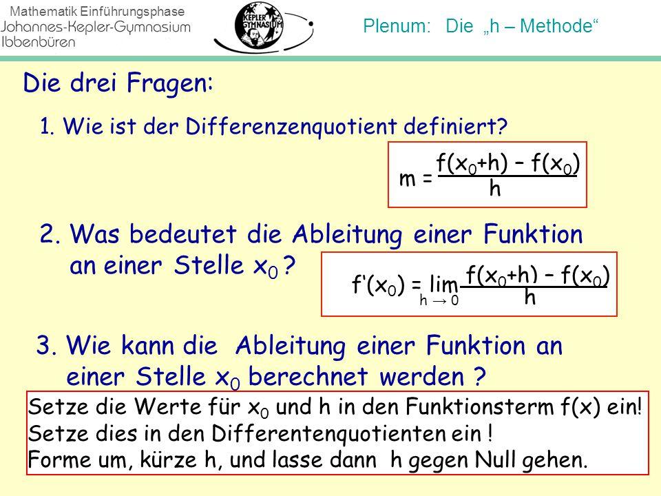2. Was bedeutet die Ableitung einer Funktion an einer Stelle x0