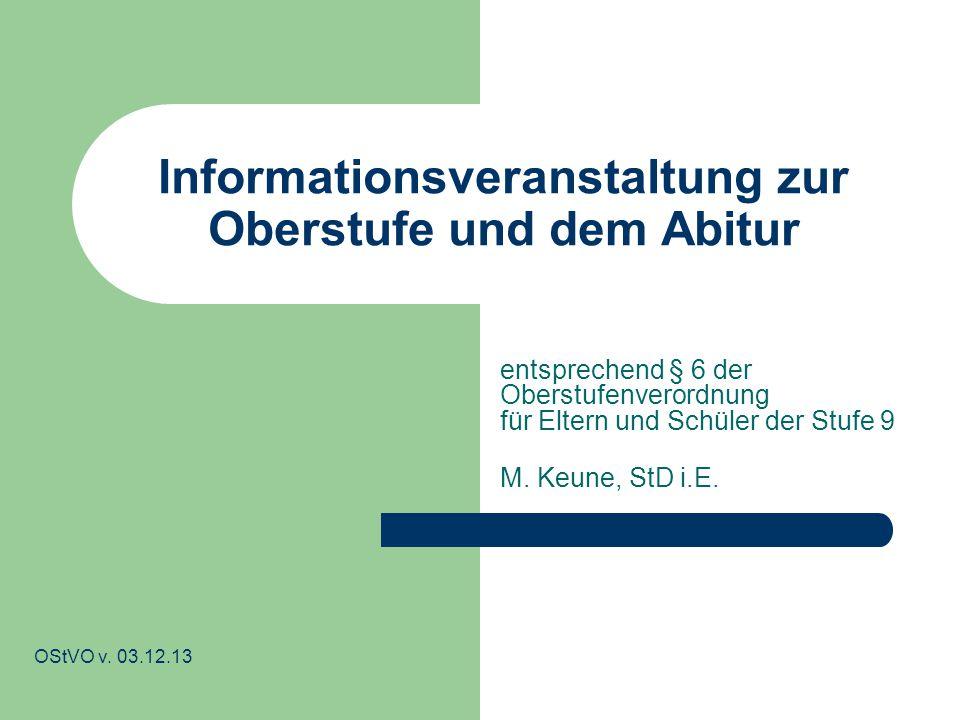 Informationsveranstaltung zur Oberstufe und dem Abitur