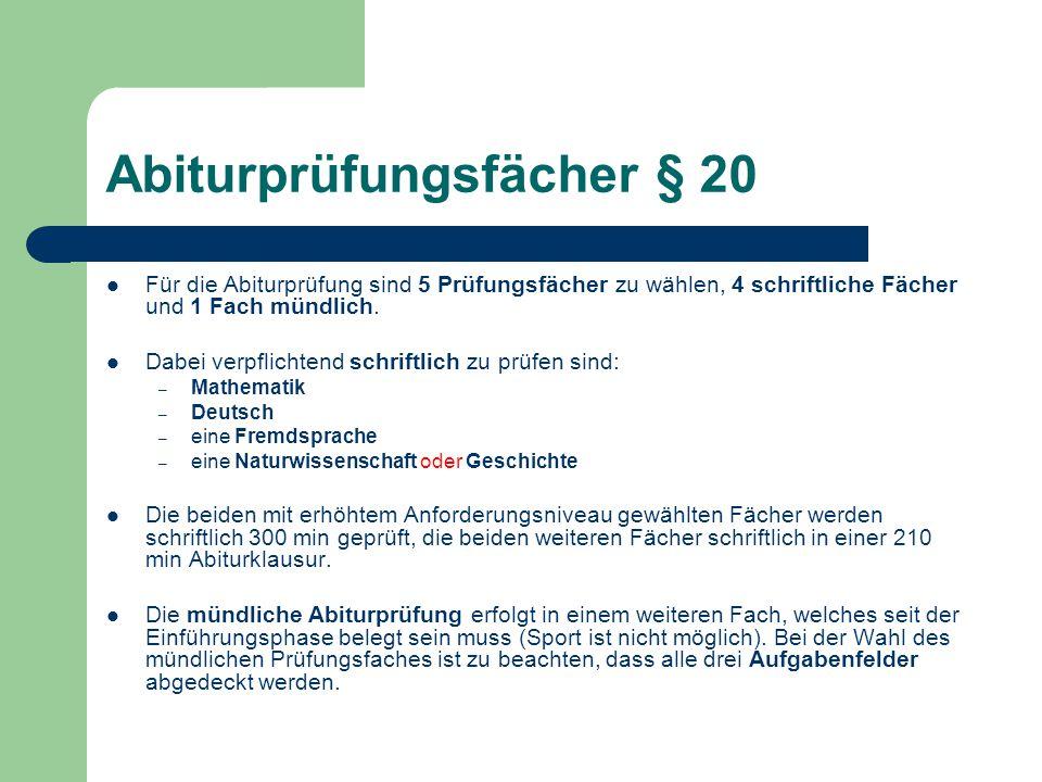 Abiturprüfungsfächer § 20
