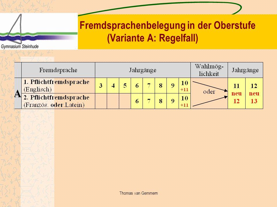 Fremdsprachenbelegung in der Oberstufe (Variante A: Regelfall)