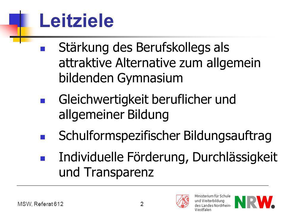 MSW, Ref. 612 Leitziele. Stärkung des Berufskollegs als attraktive Alternative zum allgemein bildenden Gymnasium.