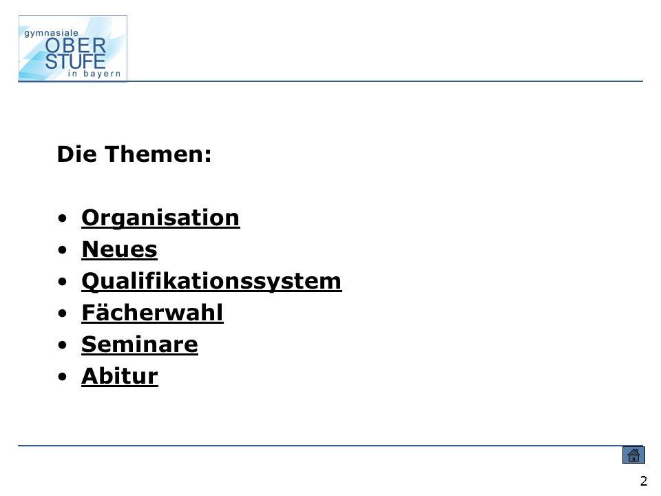 Die Themen: Organisation Neues Qualifikationssystem Fächerwahl Seminare Abitur