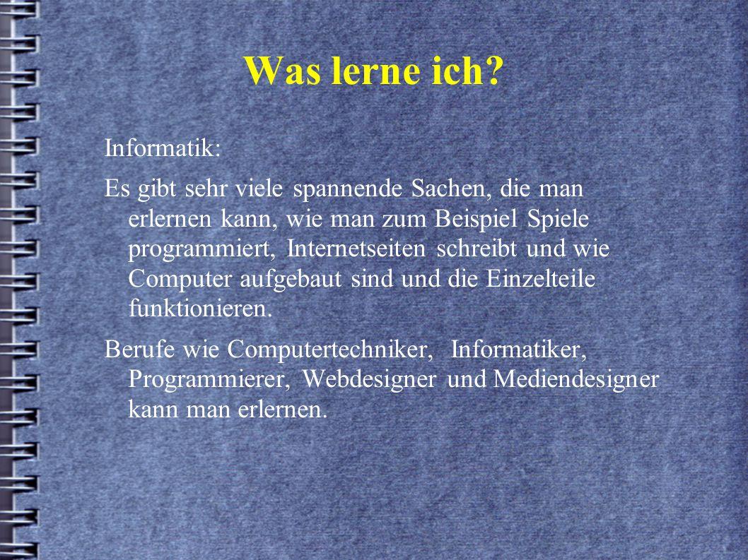 Was lerne ich Informatik: