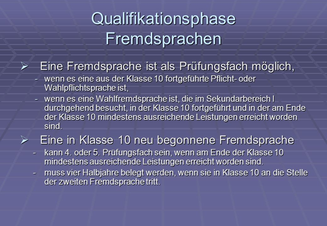 Qualifikationsphase Fremdsprachen