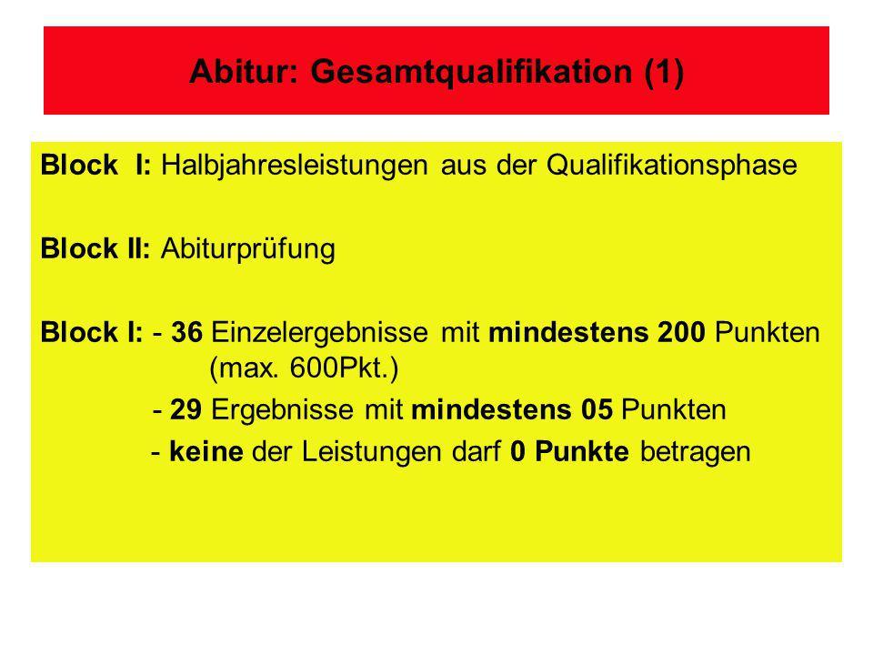Abitur: Gesamtqualifikation (1)