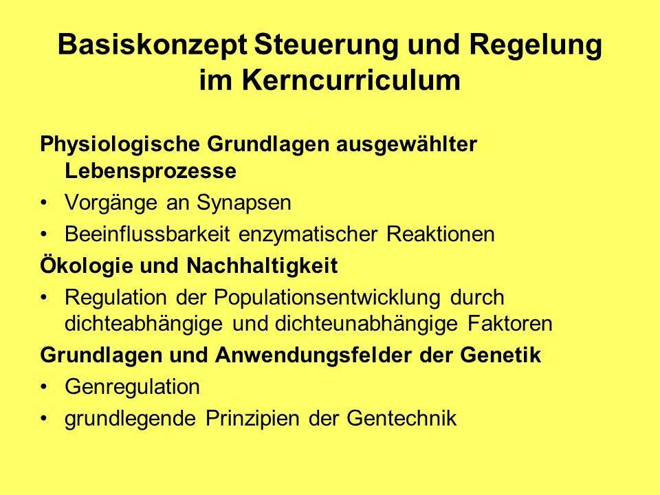 Basiskonzept Steuerung und Regelung im Kerncurriculum