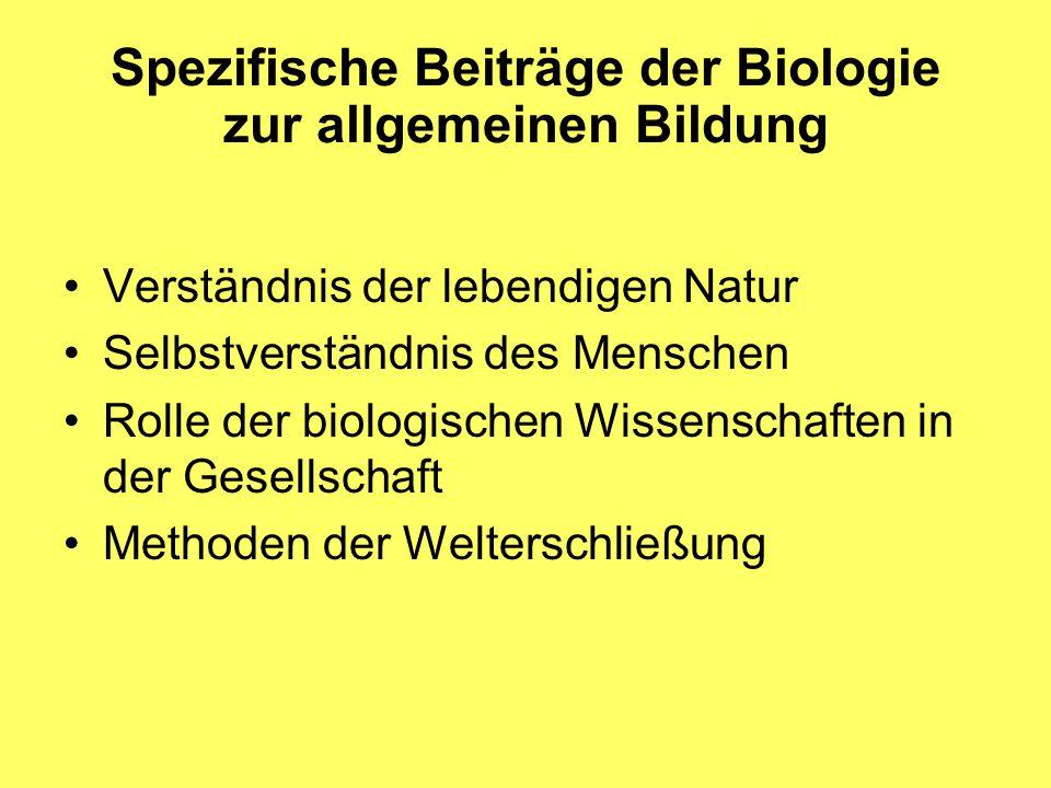 Spezifische Beiträge der Biologie zur allgemeinen Bildung