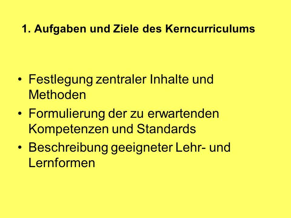 1. Aufgaben und Ziele des Kerncurriculums