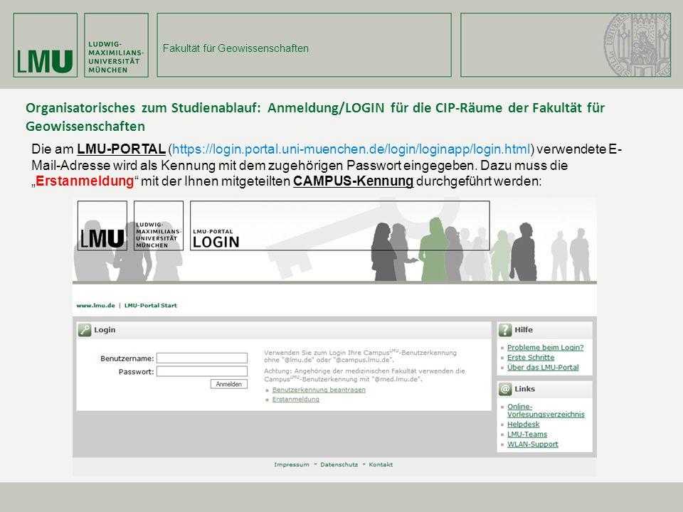 Organisatorisches zum Studienablauf: Anmeldung/LOGIN für die CIP-Räume der Fakultät für Geowissenschaften