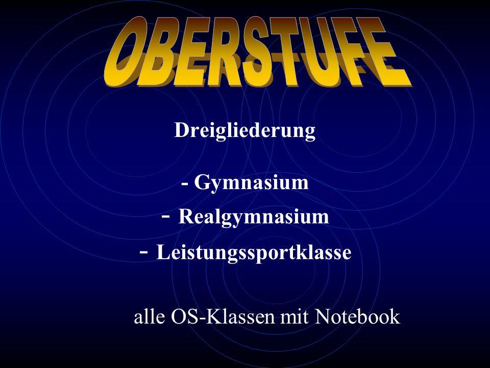 OBERSTUFE Dreigliederung - Gymnasium - Realgymnasium - Leistungssportklasse alle OS-Klassen mit Notebook.