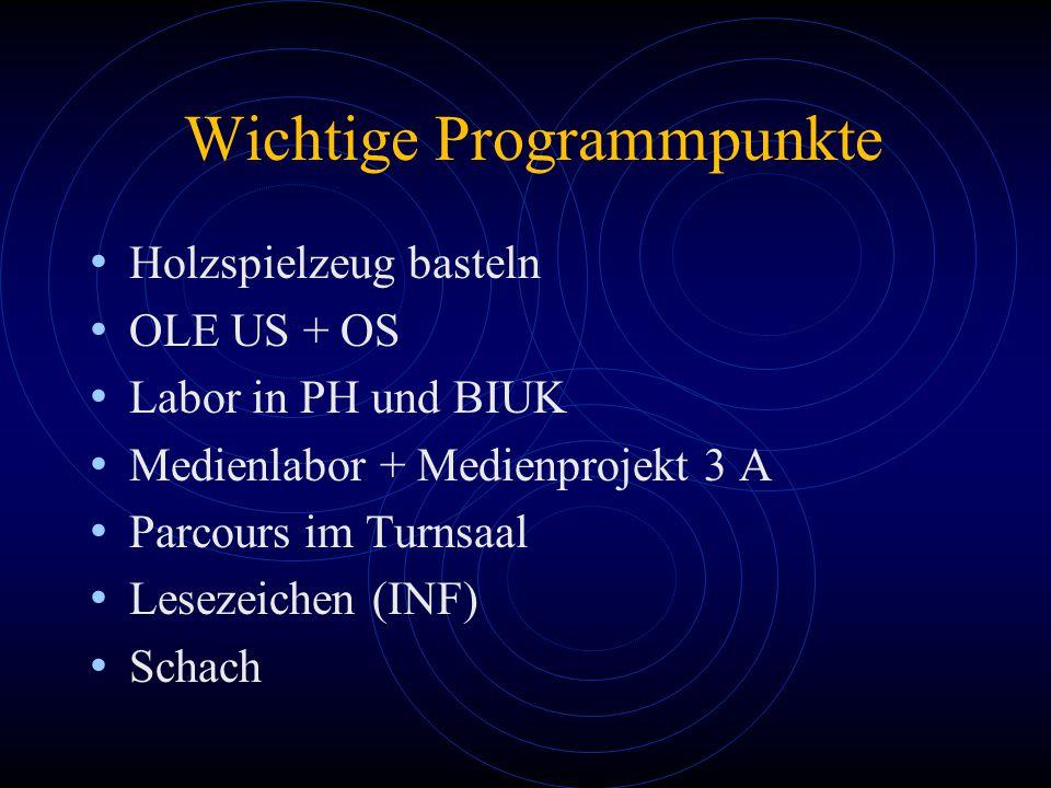 Wichtige Programmpunkte