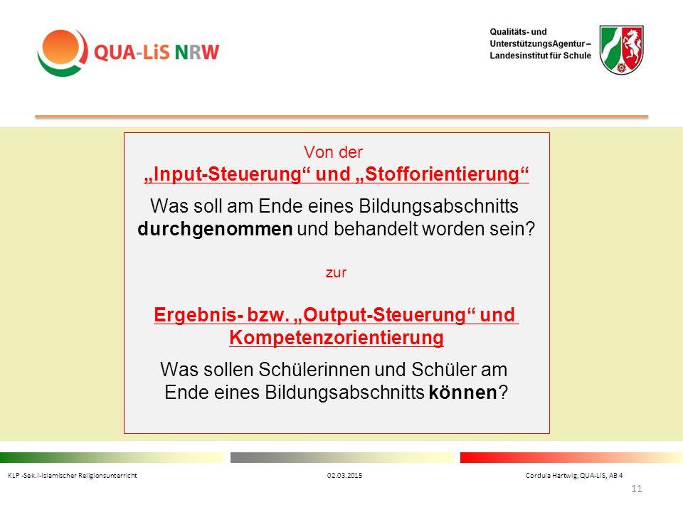 """""""Input-Steuerung und """"Stofforientierung"""