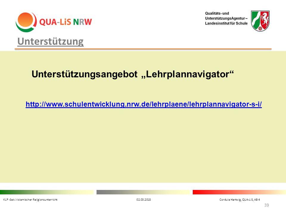 """Unterstützung Unterstützungsangebot """"Lehrplannavigator"""