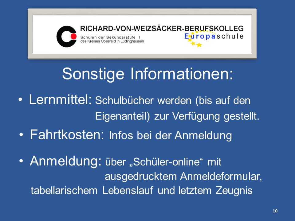 Sonstige Informationen:
