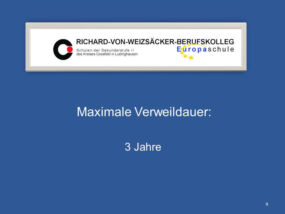 Maximale Verweildauer: