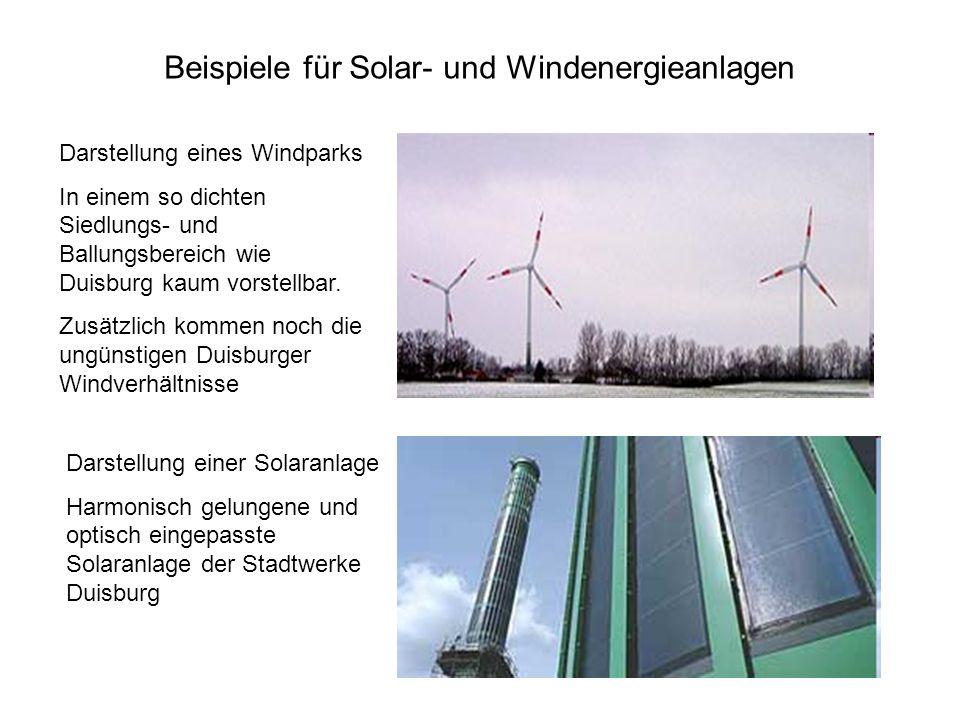 Beispiele für Solar- und Windenergieanlagen