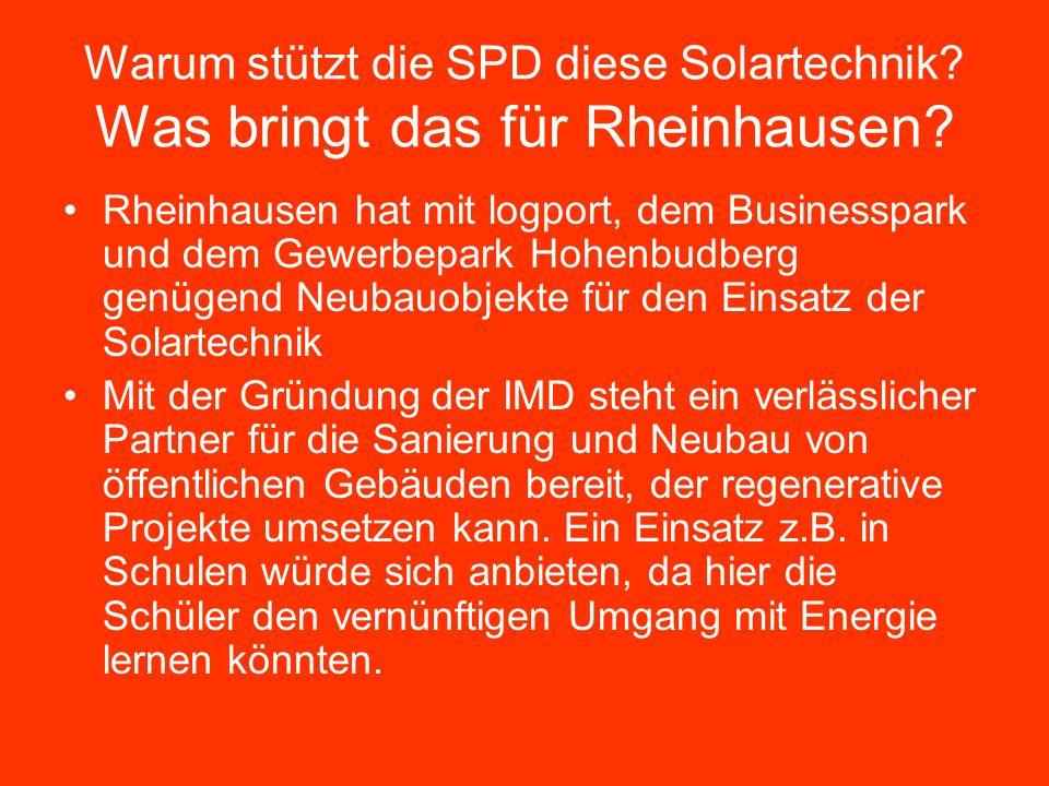 Warum stützt die SPD diese Solartechnik Was bringt das für Rheinhausen