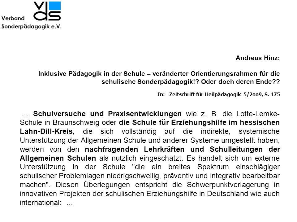 Andreas Hinz: lnklusive Pädagogik in der Schule – veränderter Orientierungsrahmen für die schulische Sonderpädagogik! Oder doch deren Ende