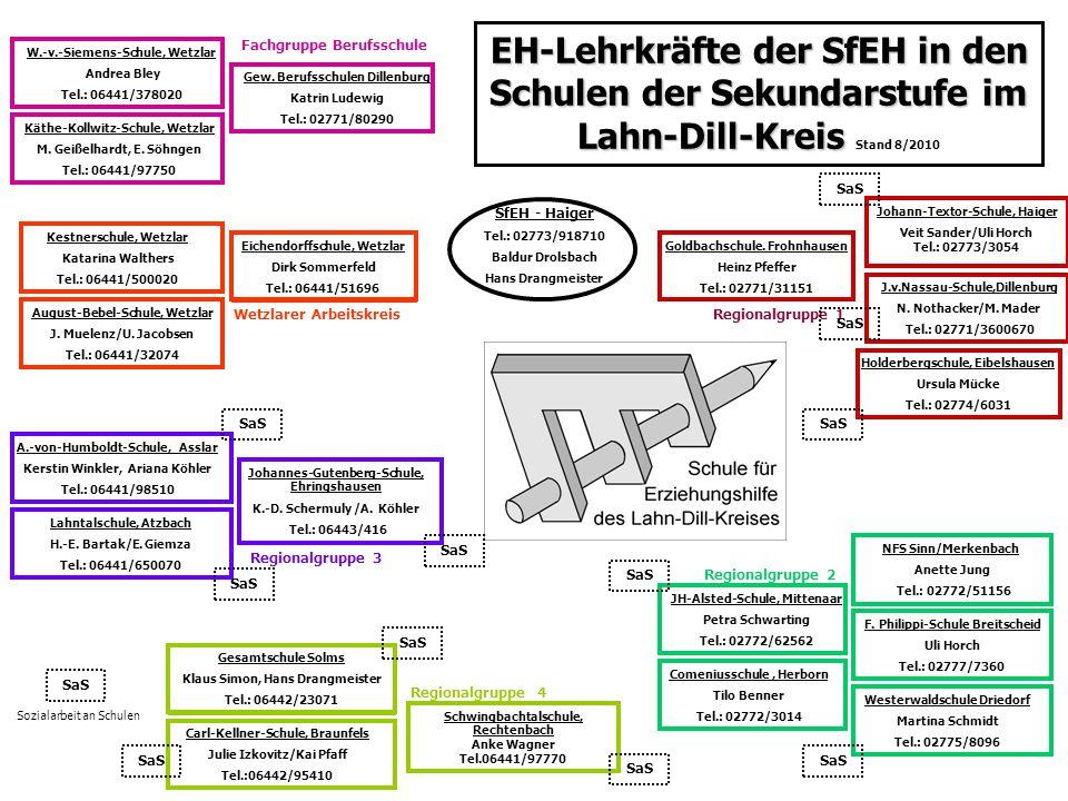 EH-Lehrkräfte der SfEH in den Schulen der Sekundarstufe im Lahn-Dill-Kreis Stand 8/2010