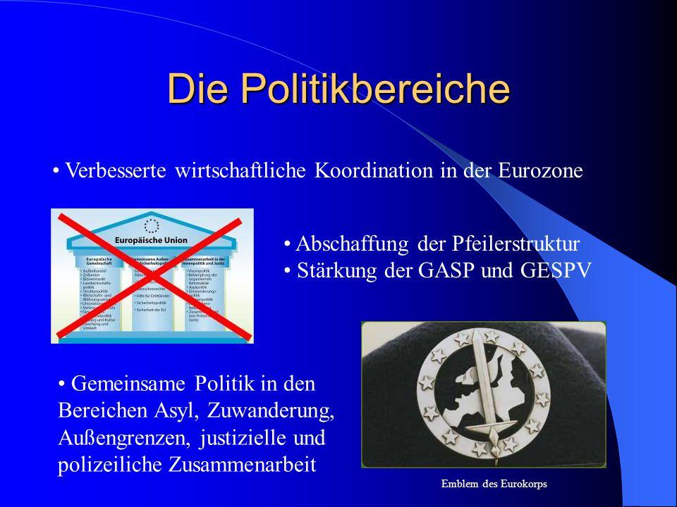 Die Politikbereiche Verbesserte wirtschaftliche Koordination in der Eurozone. • Abschaffung der Pfeilerstruktur.