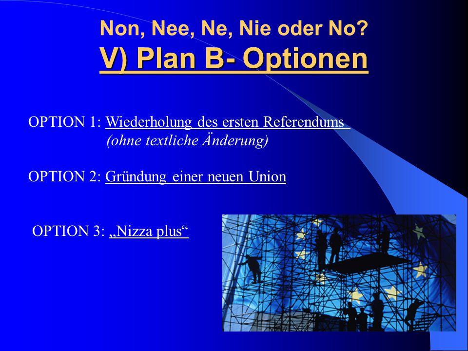 Non, Nee, Ne, Nie oder No V) Plan B- Optionen