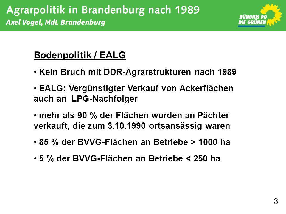 Bodenpolitik / EALG Kein Bruch mit DDR-Agrarstrukturen nach 1989