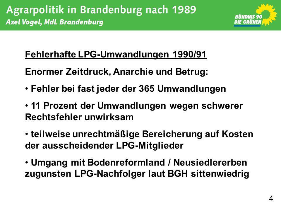 Fehlerhafte LPG-Umwandlungen 1990/91