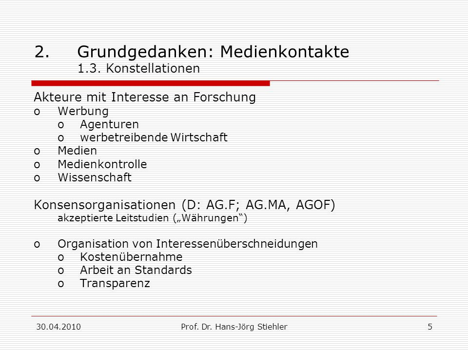 2. Grundgedanken: Medienkontakte 1.3. Konstellationen