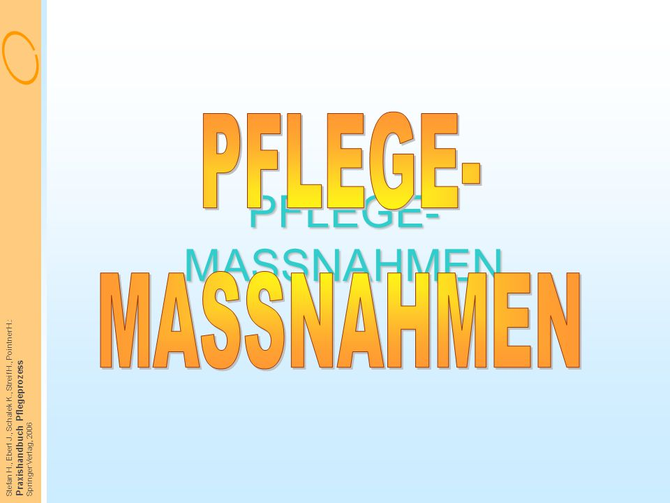 PFLEGE- MASSNAHMEN PFLEGE- MASSNAHMEN Praxishandbuch Pflegeprozess