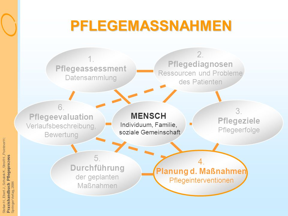PFLEGEMASSNAHMEN 1. Pflegeassessment Datensammlung. 2. Pflegediagnosen Ressourcen und Probleme des Patienten.
