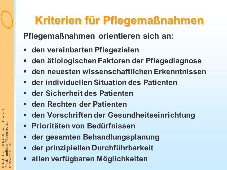 Kriterien für Pflegemaßnahmen