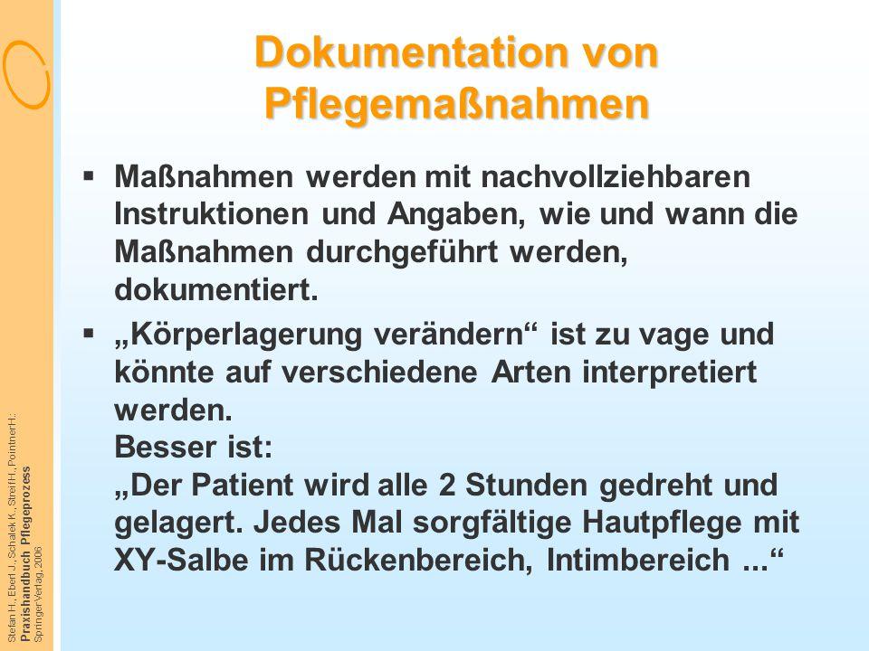 Dokumentation von Pflegemaßnahmen