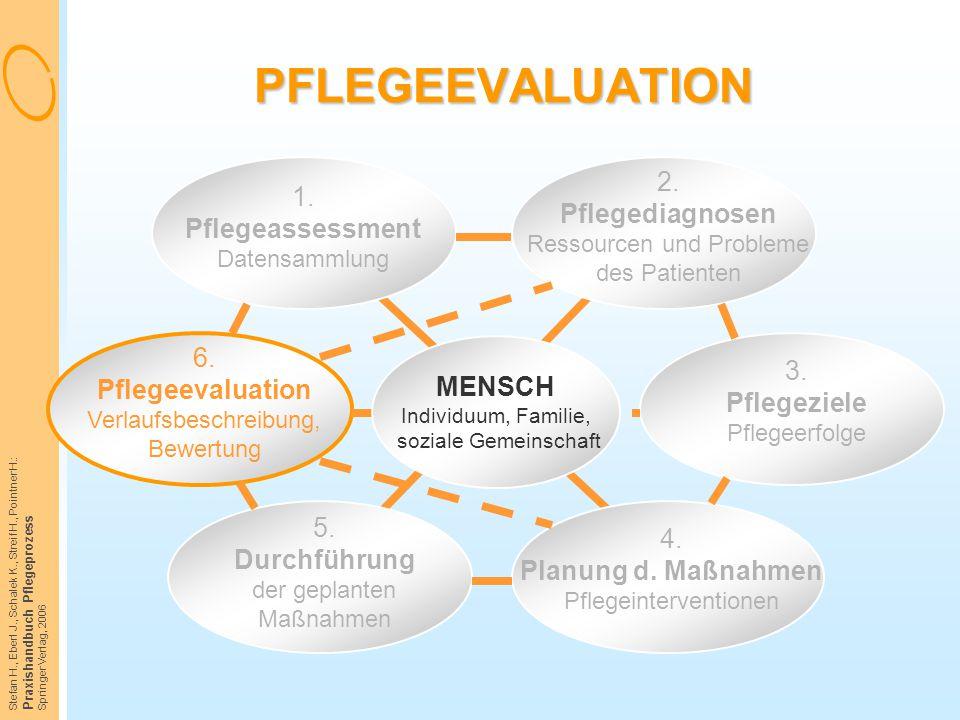 PFLEGEEVALUATION 1. Pflegeassessment Datensammlung. 2. Pflegediagnosen Ressourcen und Probleme des Patienten.