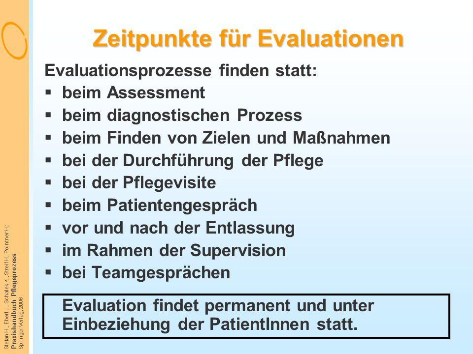 Zeitpunkte für Evaluationen