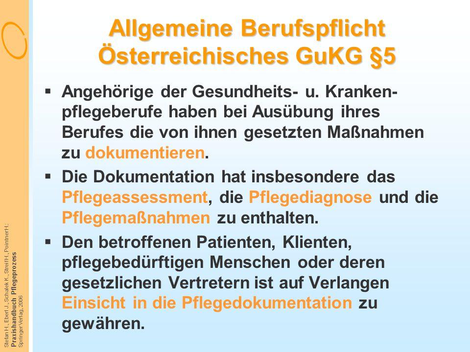Allgemeine Berufspflicht Österreichisches GuKG §5