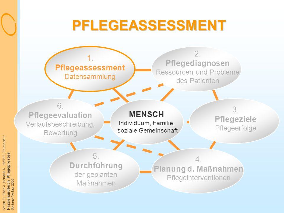 PFLEGEASSESSMENT 1. Pflegeassessment Datensammlung. 2. Pflegediagnosen Ressourcen und Probleme des Patienten.