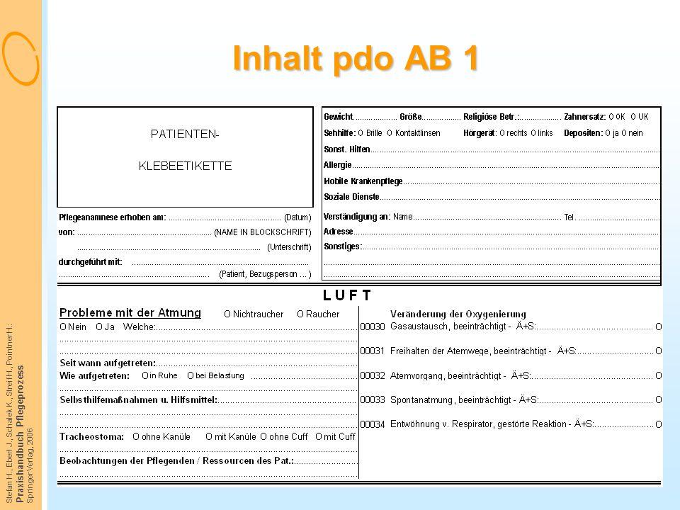 Inhalt pdo AB 1 Praxishandbuch Pflegeprozess