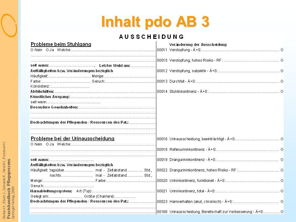 Inhalt pdo AB 3 Praxishandbuch Pflegeprozess