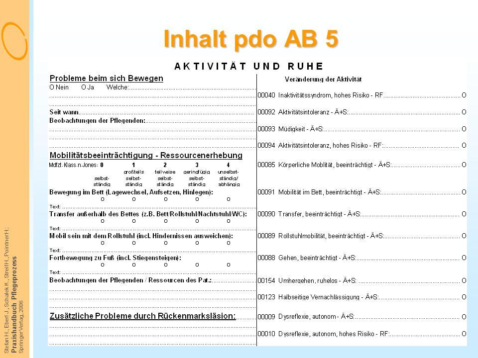 Inhalt pdo AB 5 Praxishandbuch Pflegeprozess