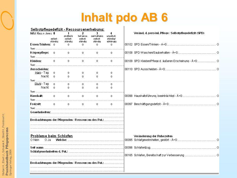 Inhalt pdo AB 6 Praxishandbuch Pflegeprozess