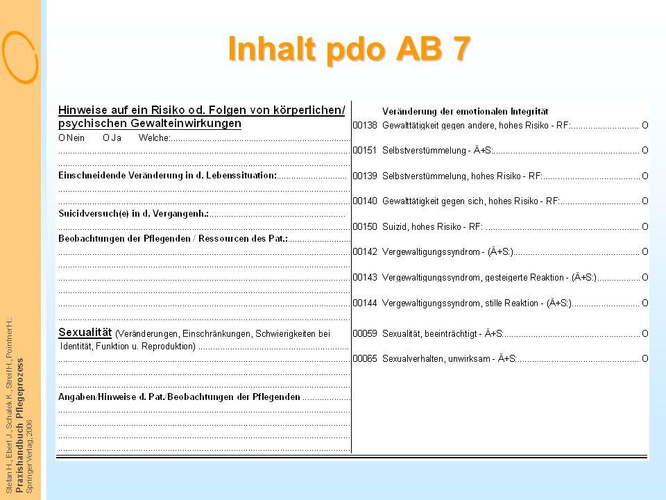 Inhalt pdo AB 7 Praxishandbuch Pflegeprozess